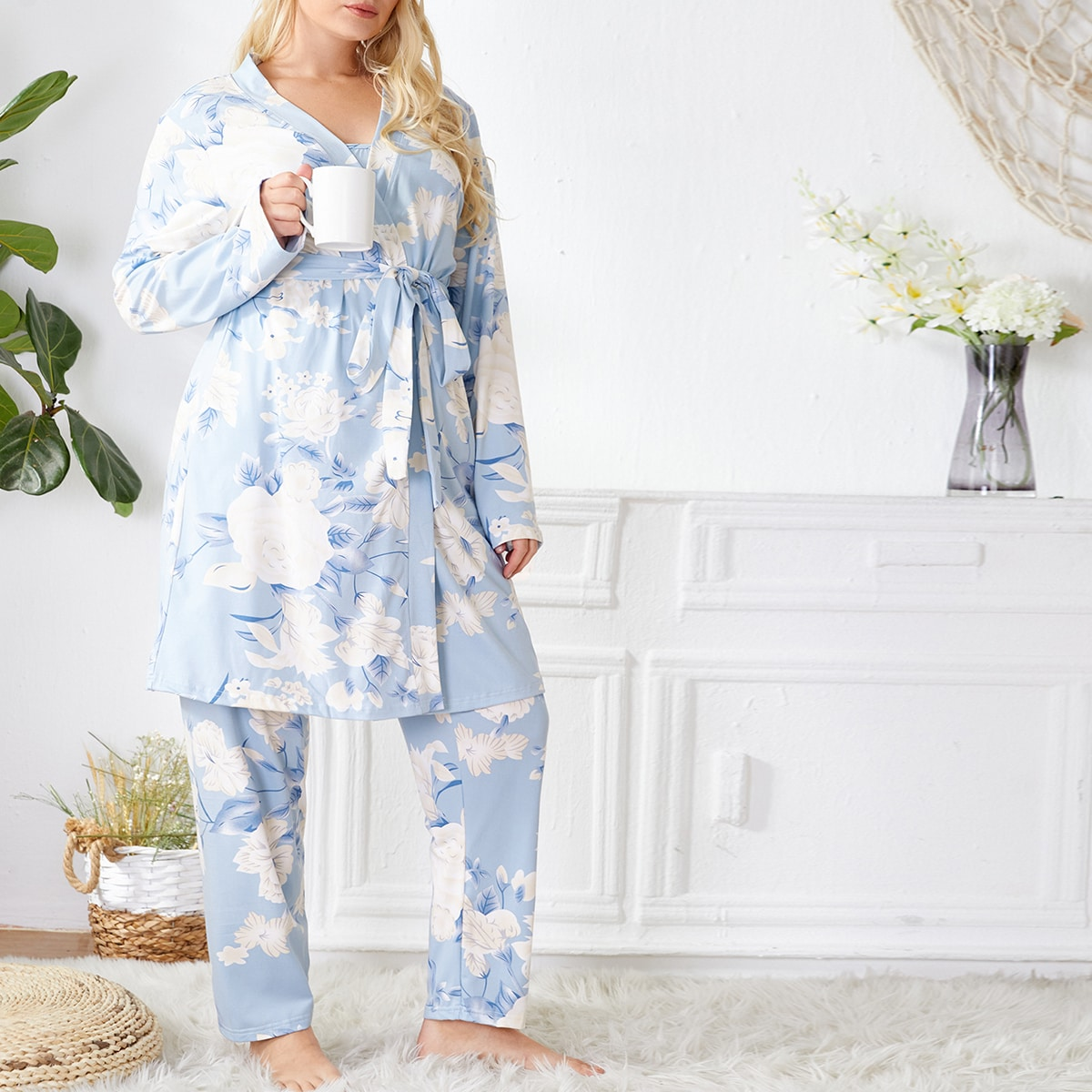 Plus All Over Floral Print Cami Pj Set With Belted Robe