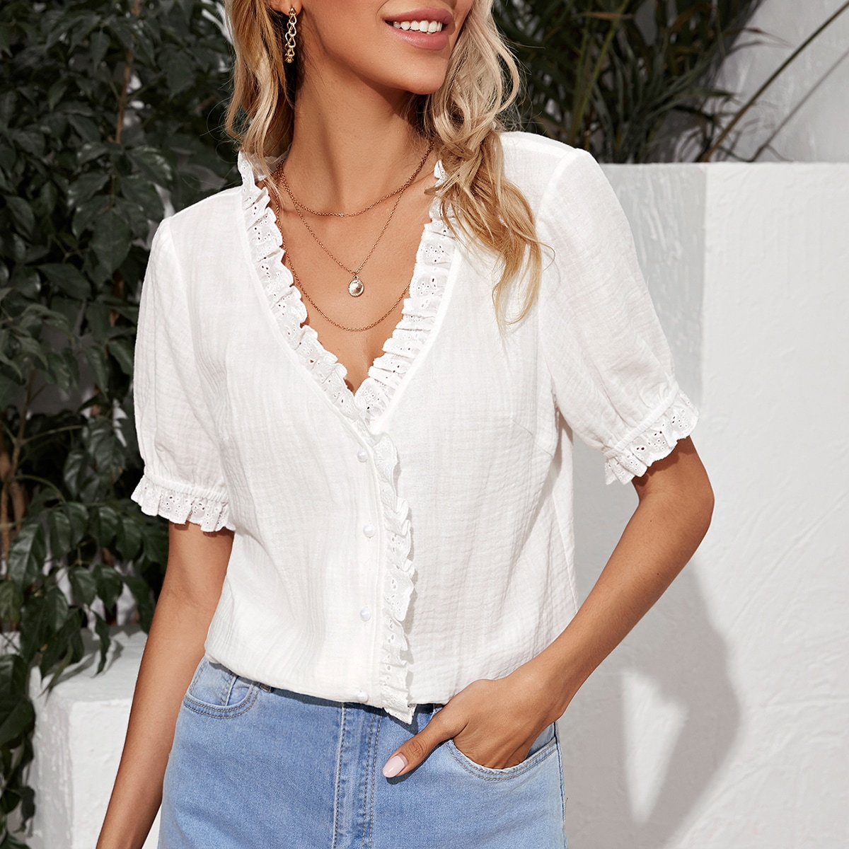 SHEIN / Solid Eyelet Embroidered Ruffle-neck Blouse