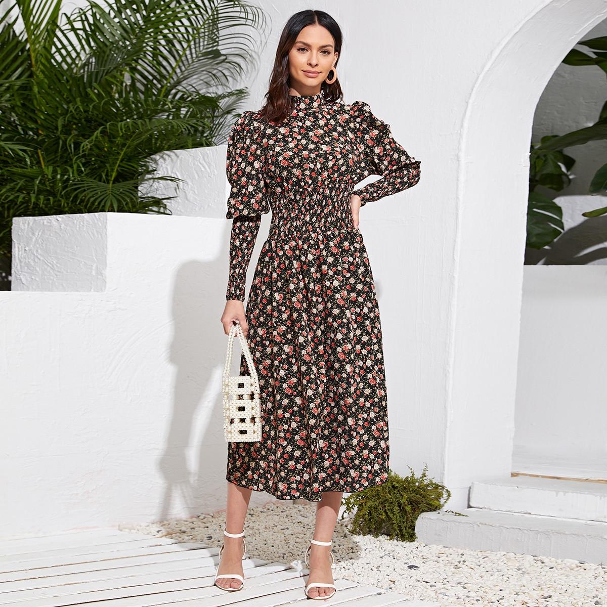 Floral Gigot Sleeve Shirred Detail Dress