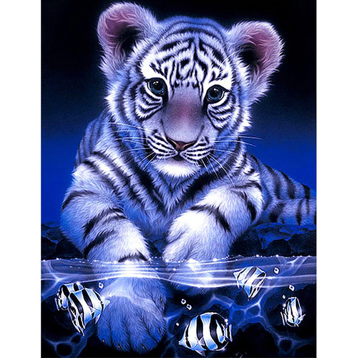 Diamand Malerei mit Tiger Muster ohne Rahmen