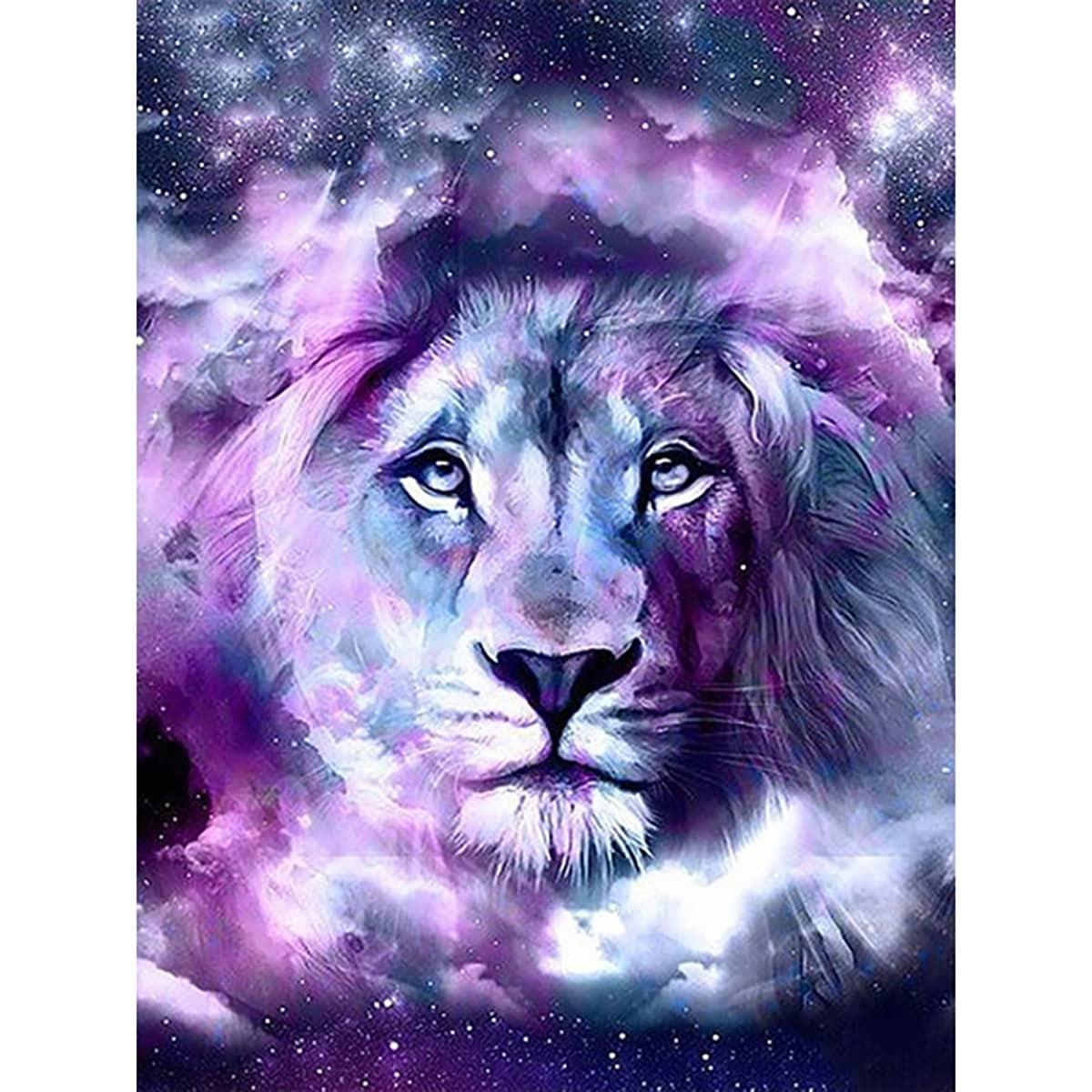 Diamand Malerei mit Löwen Muster ohne Rahmen