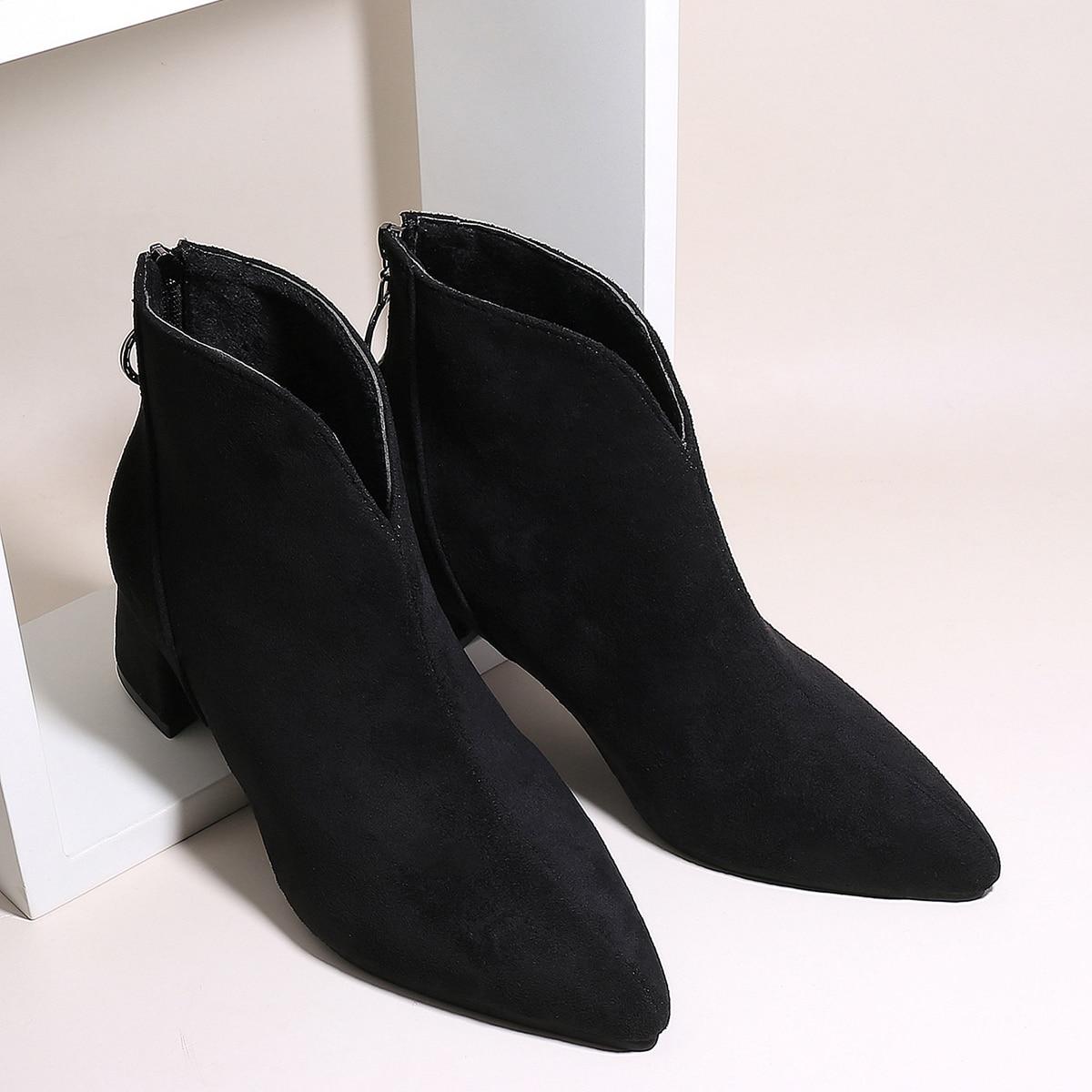shein Stevige laarzen met puntige neus en rits