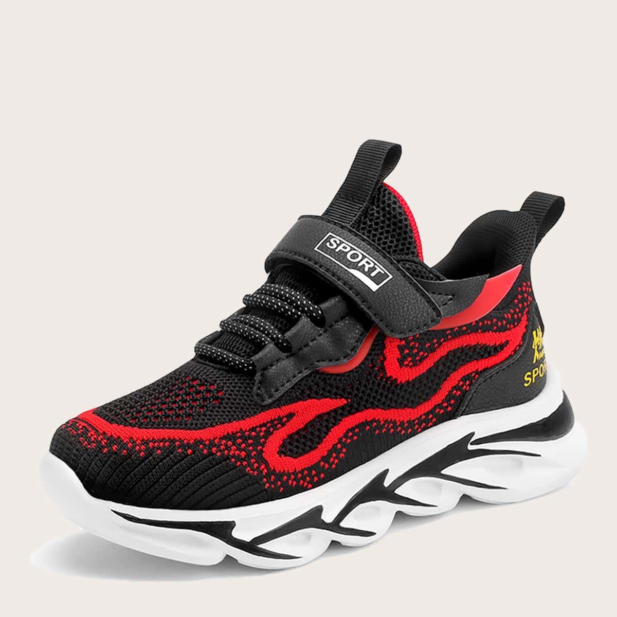 Вязаные кроссовки для девочек на липучках от SHEIN