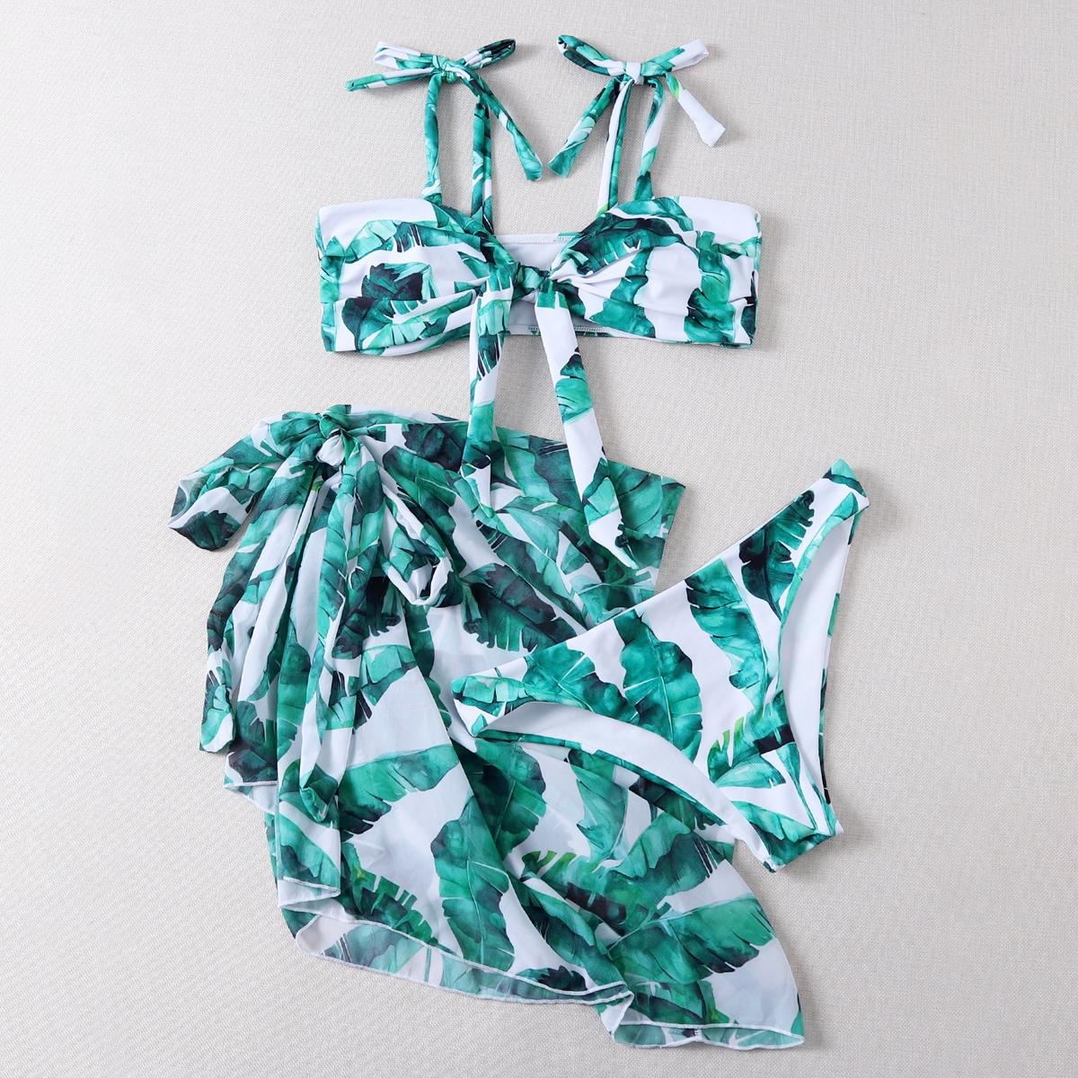 3 пакета бикини и пляжная юбка с тропическим принтом