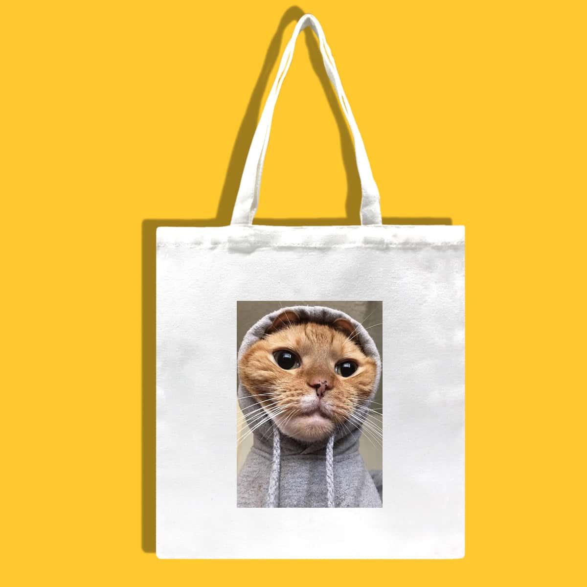Сумка-шоппер с рисунком кошки