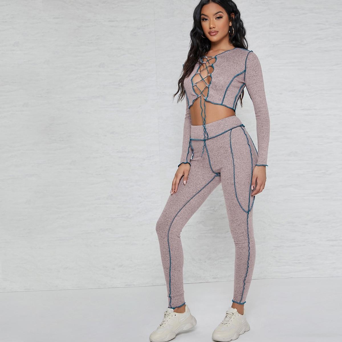 SHEIN / Contrast Stitch Lace-Up Crop Top & Leggings Set