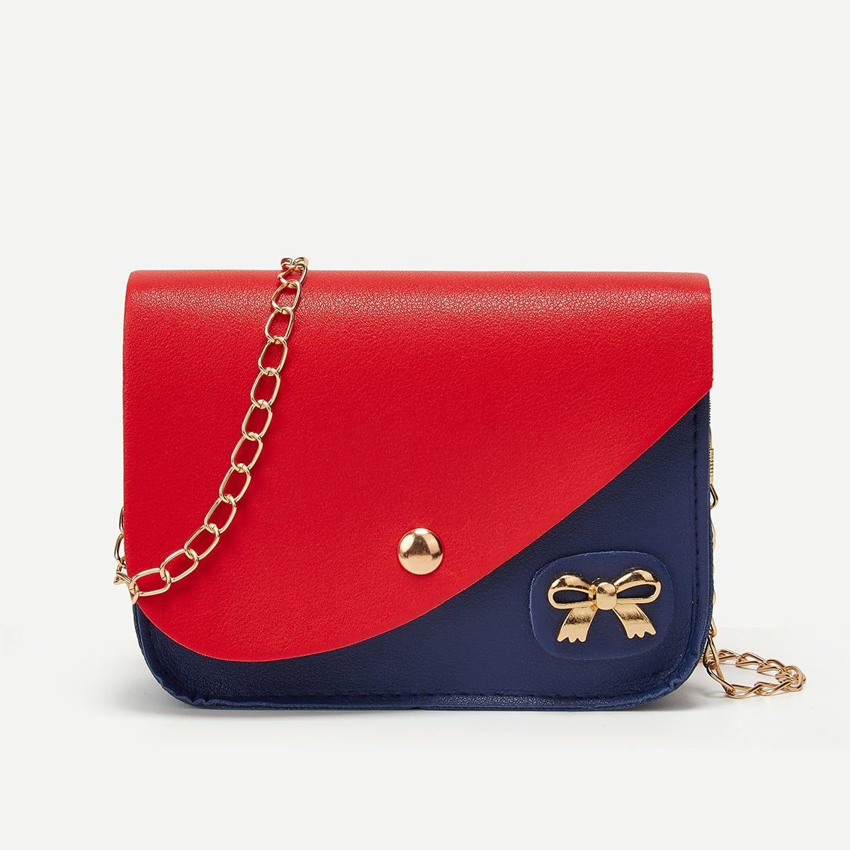 shein Mini-tas met ketting met kleurblok en klep
