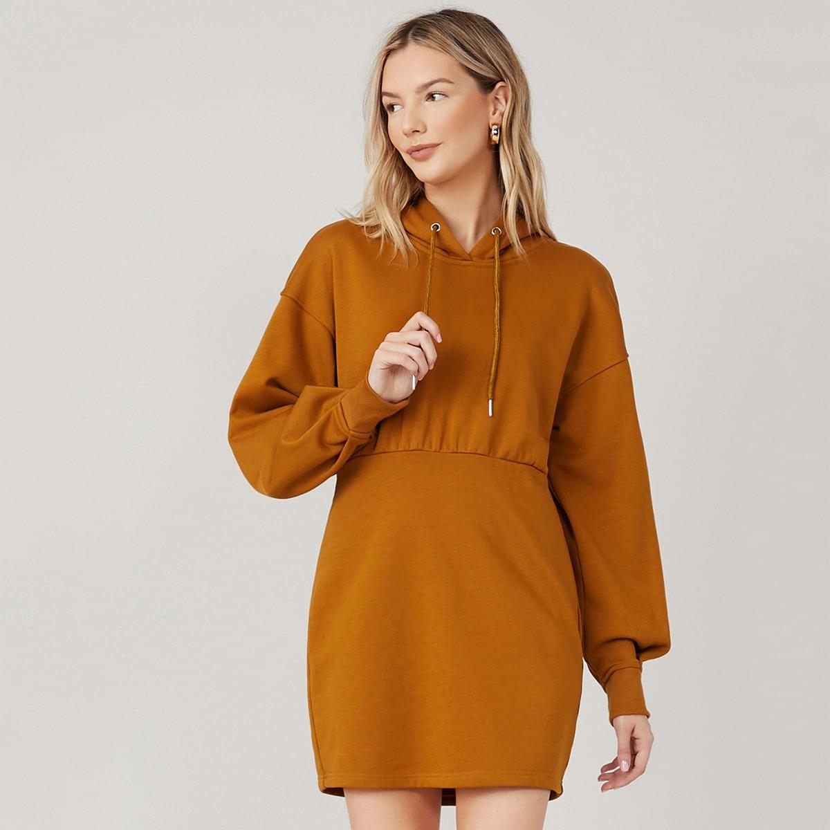 Платье из смесового хлопка с капюшоном