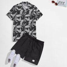 Guys Notch Collar Tropical Print Shirt & Drawstring Waist Patched Detail Shorts Set