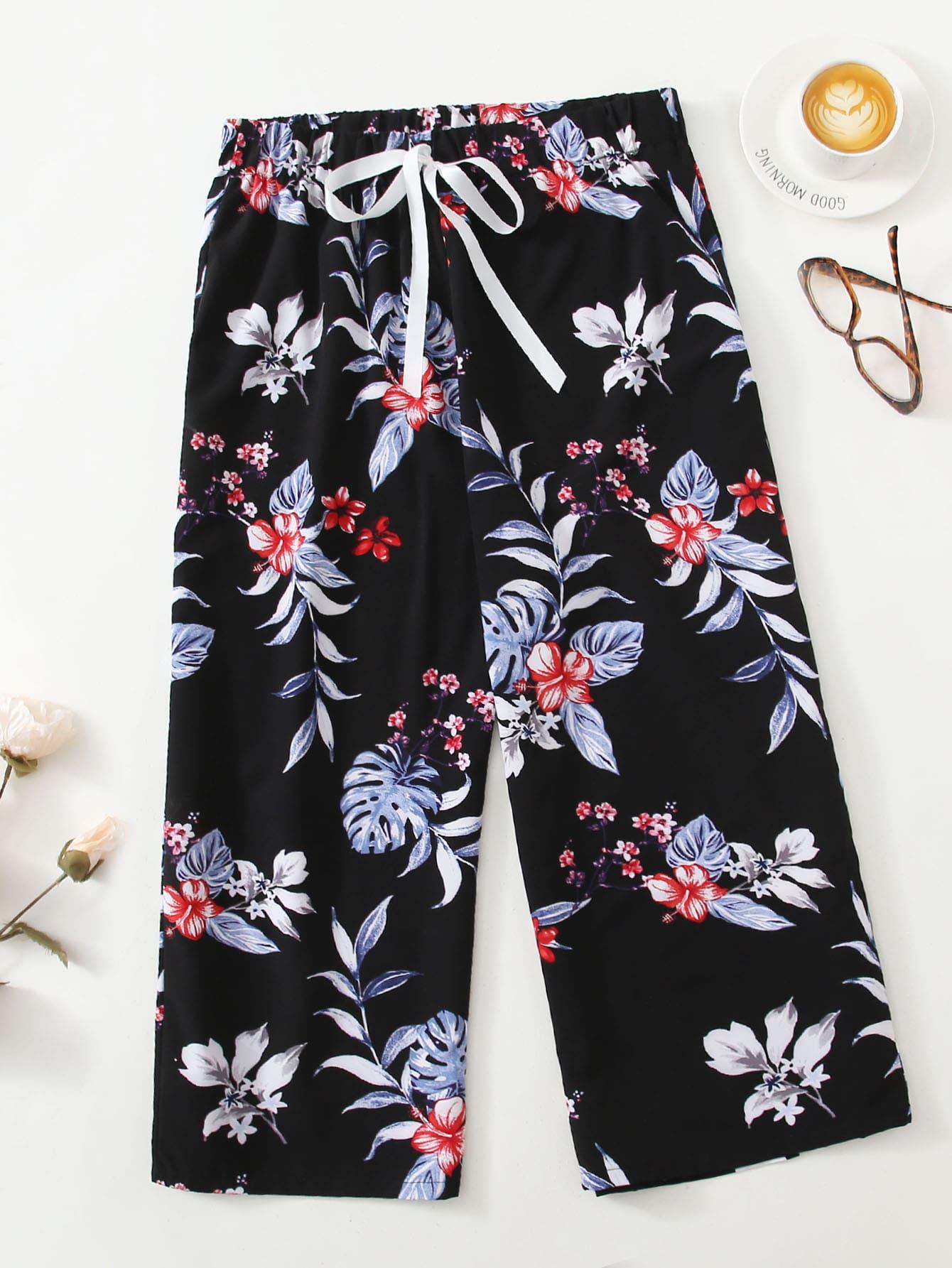 Plus Floral Print Knot Sleep Pants