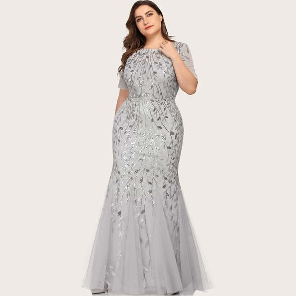 Plus Sequin Plants Detail Mesh Prom Dress, Light grey