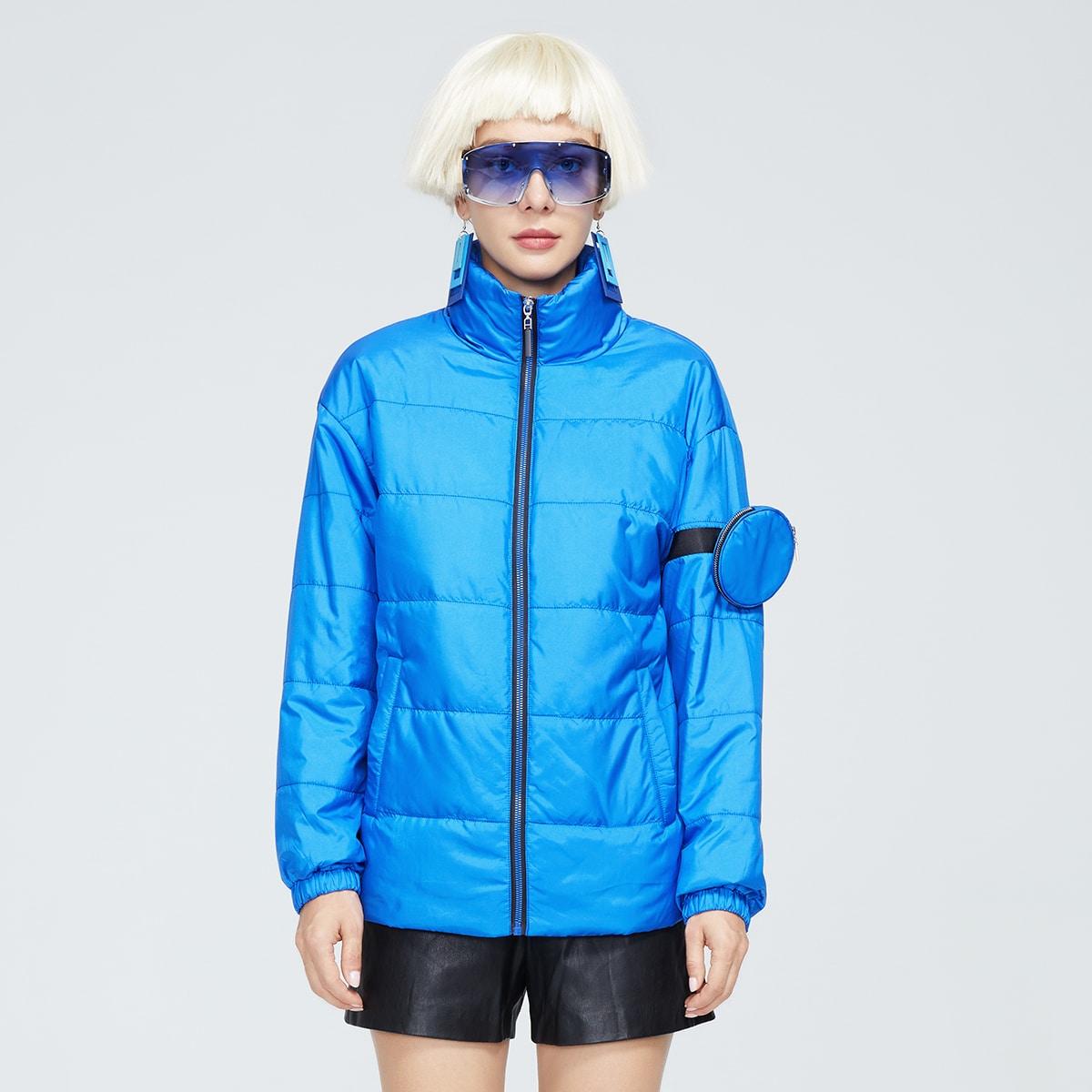 Neon Blue Drop Shoulder Zipper Puffer Jacket
