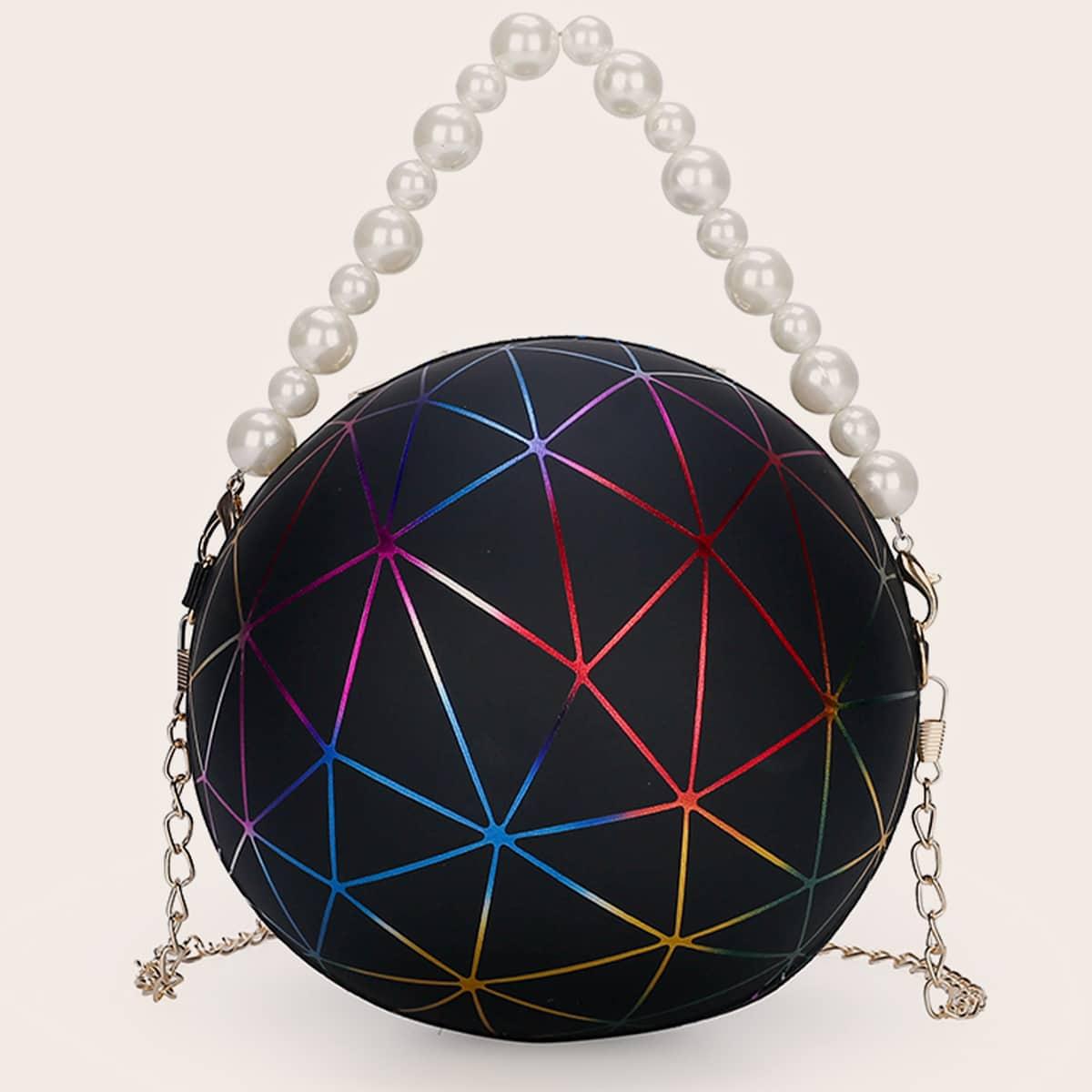 SHEIN / Geometric Pattern Ball Shaped Satchel Bag