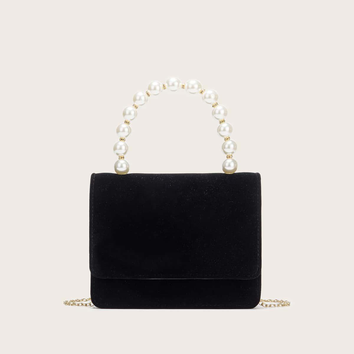 Бархатная сумка-клатч с искусственным жемчугом