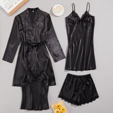 4pcs Contrast Lace Belted Satin Night Set