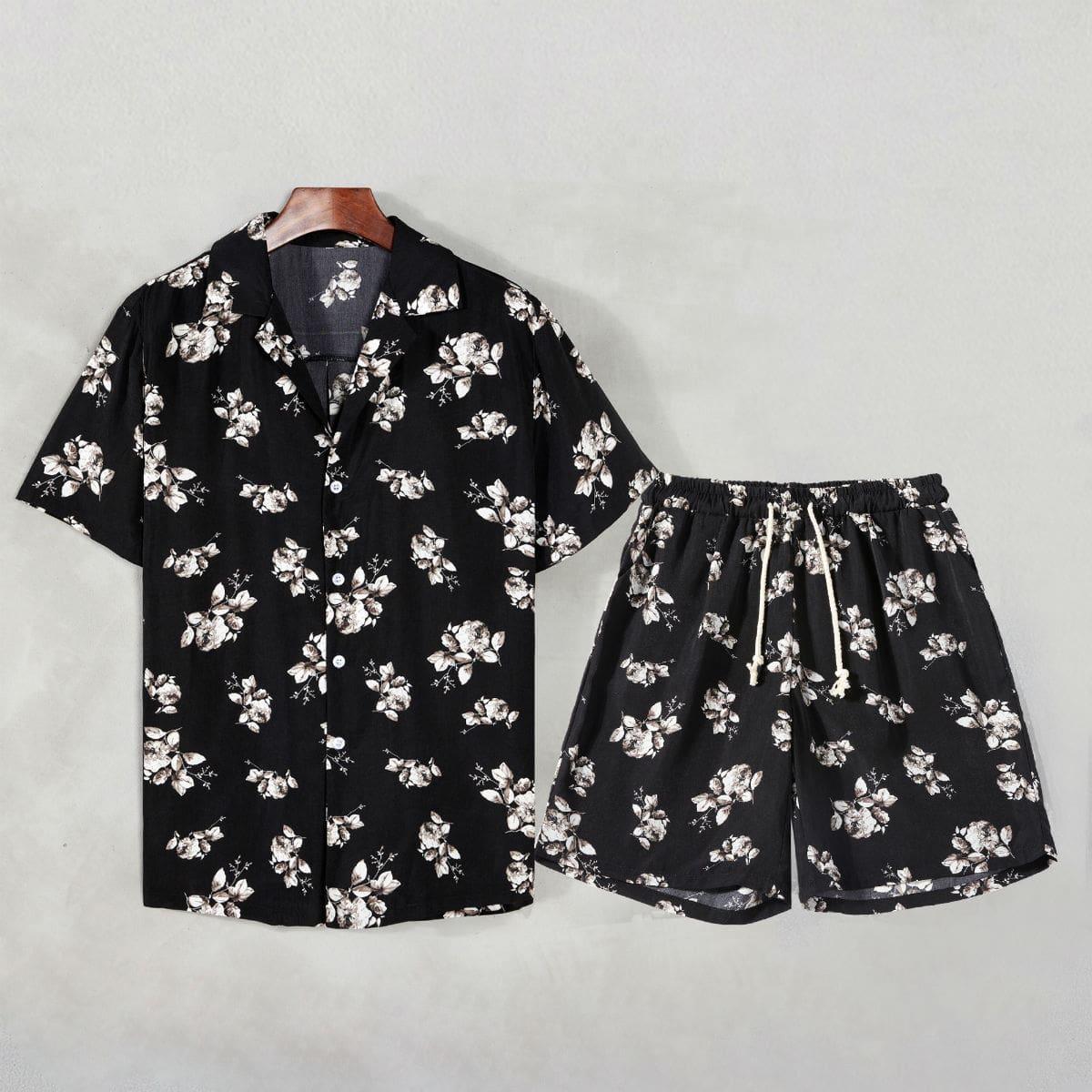 Мужская рубашка и шорты на кулиске с цветочным принтом по цене 1 690