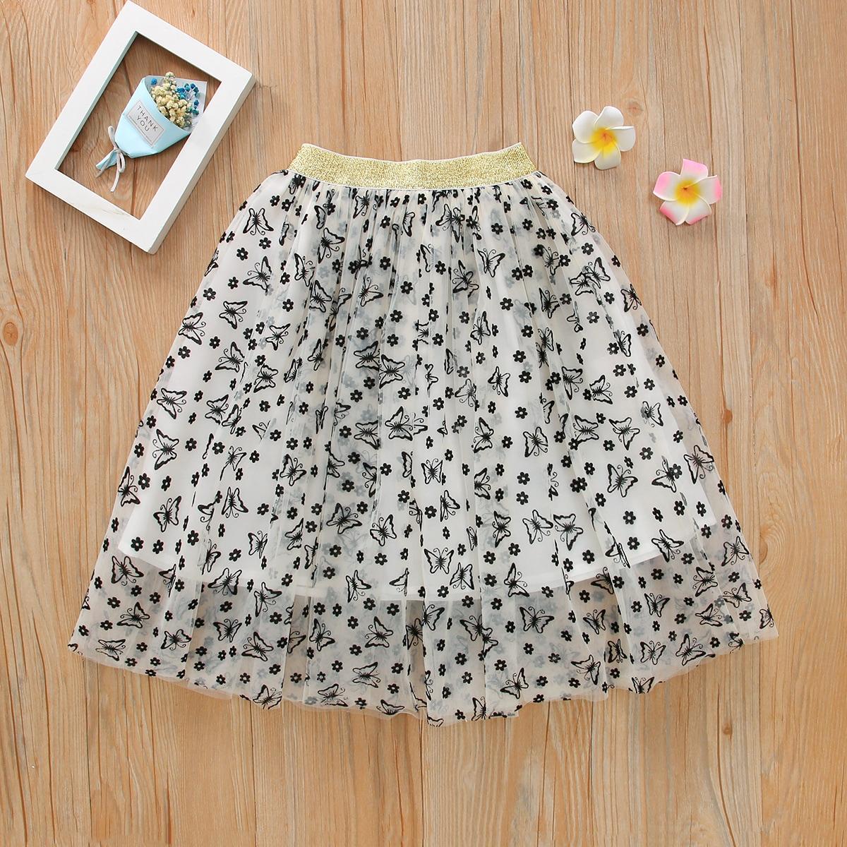 Сетчатая юбка с принтом цветка и бабочки для девочек