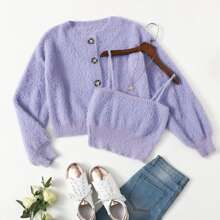 Button Front Fuzzy Knit Cardigan With Cami