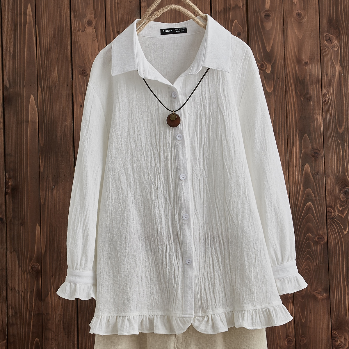 SHEIN / Ruffle Hem Button Up Blouse Without Necklace