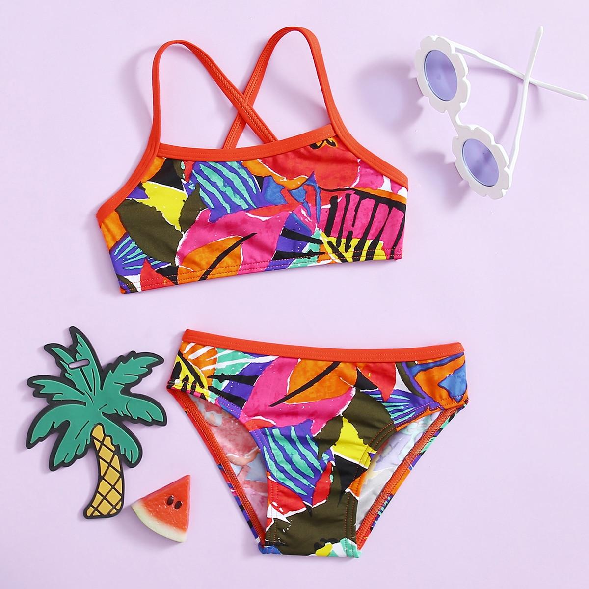 Bikini mit Farbblock und Kontrast Bindung
