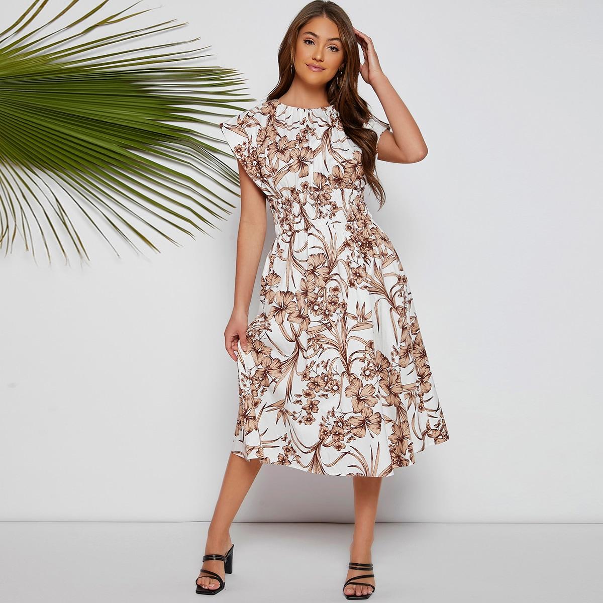 Цветочный принт Элегантный Платье