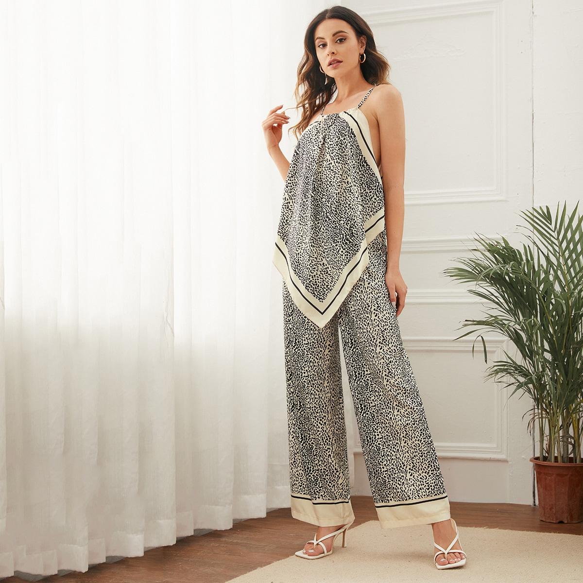 Outfit de dos piezas Leopardo Casual