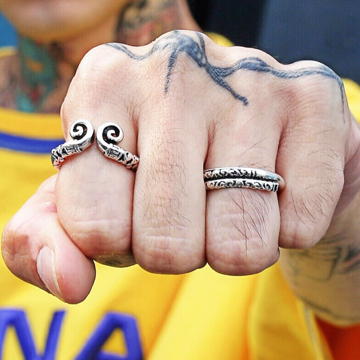 2 piezas anillo grabado para hombres