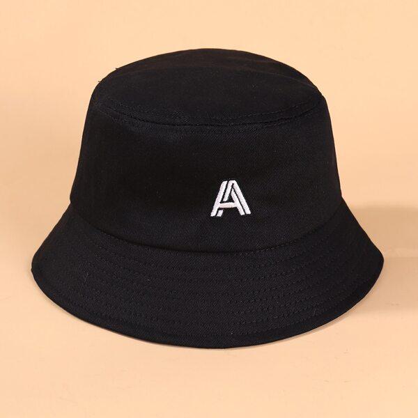 Toddler Kids Letter Embroidery Bucket Hat, Black