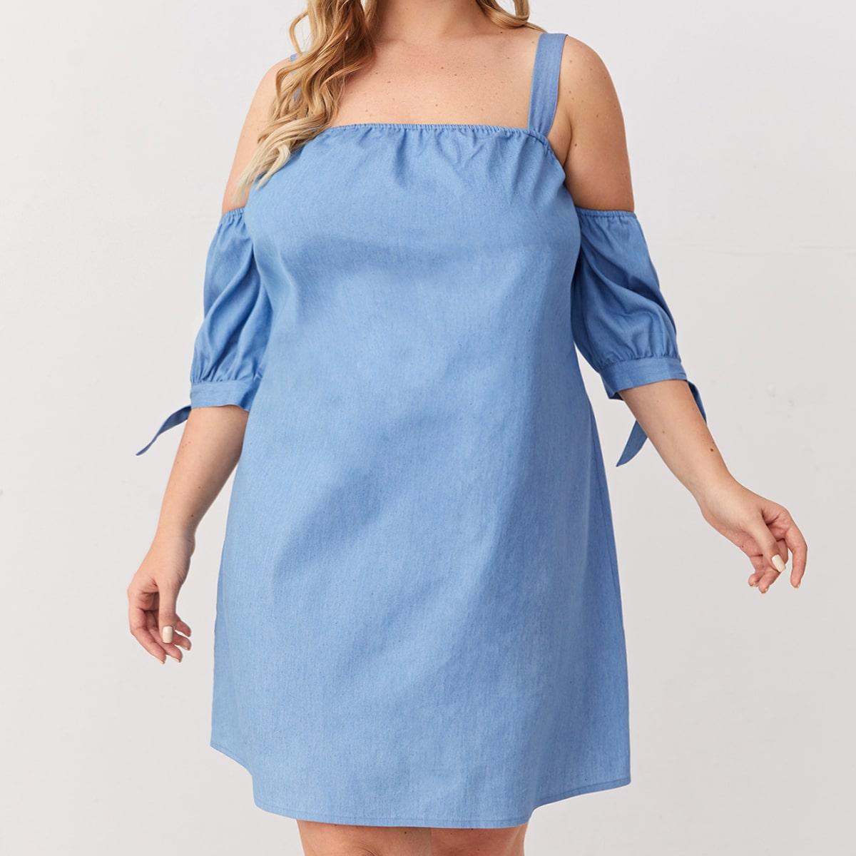 Джинсовое платье размера плюс с открытыми плечами