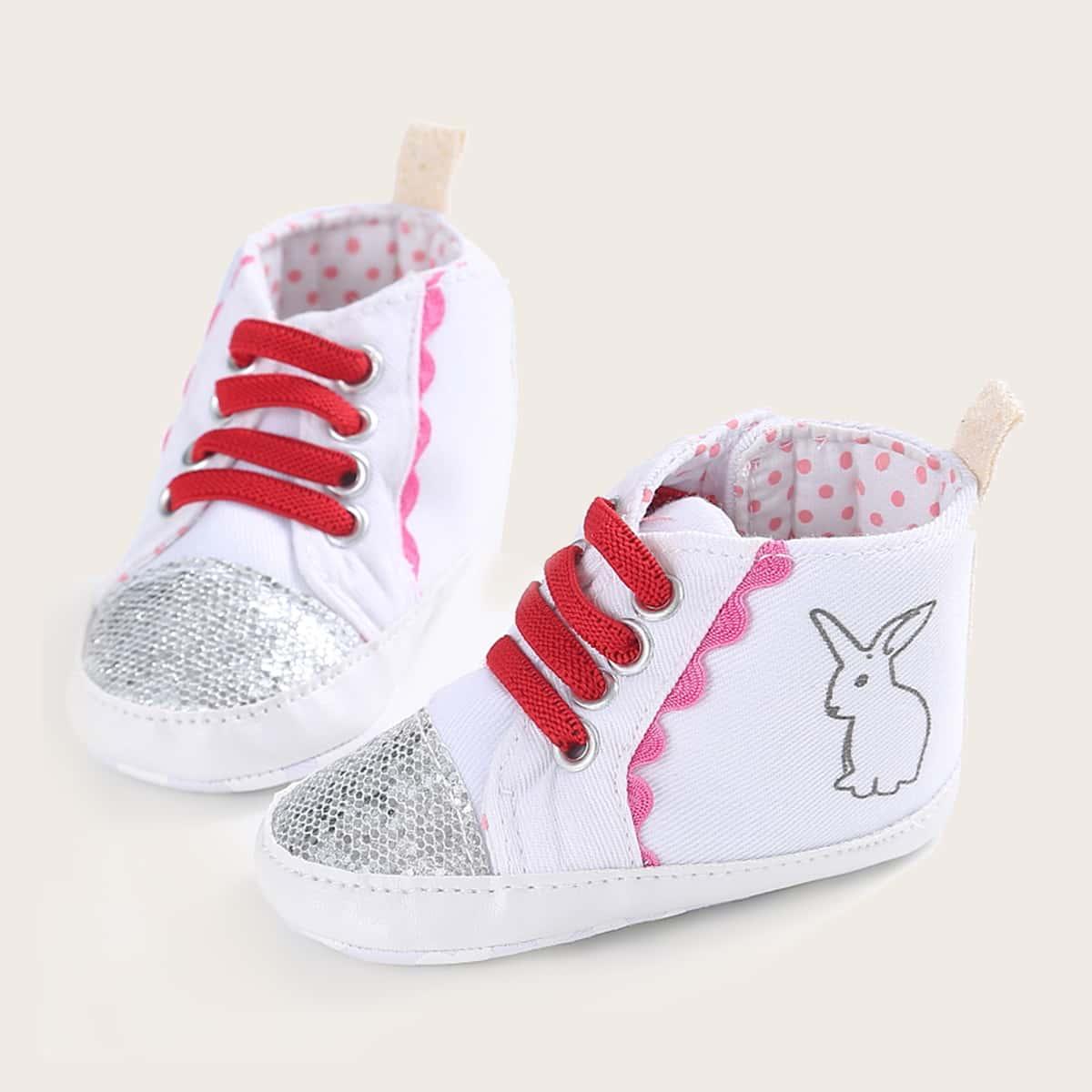 shein Kant Spotprent Baby sneaker Glitter