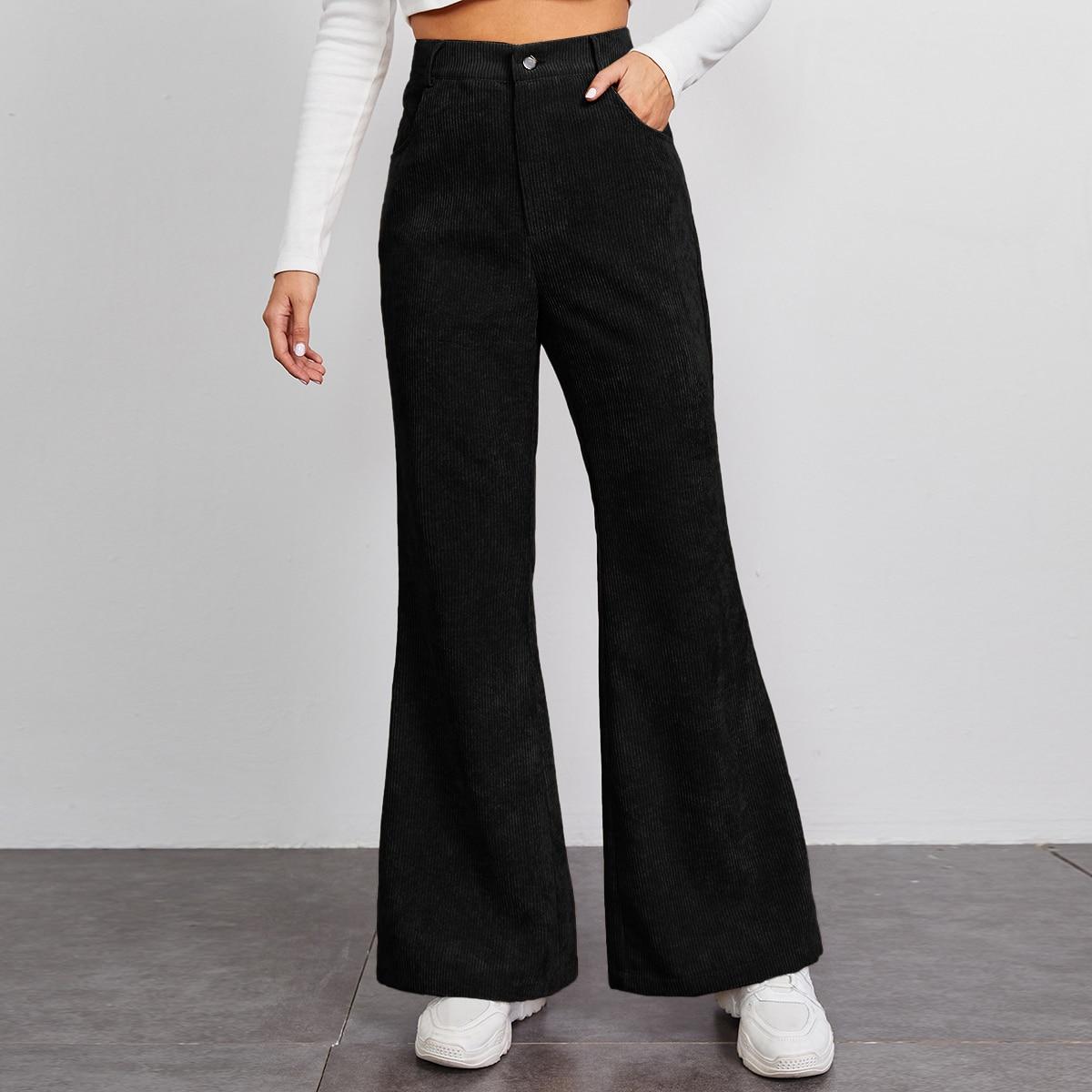 Вельветовые брюки-клеш