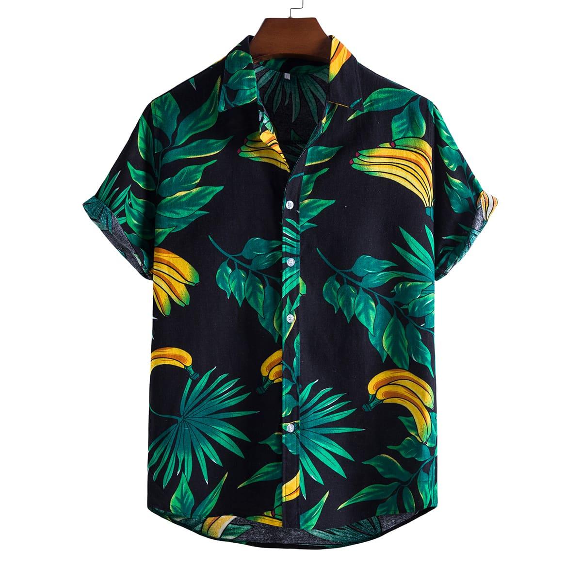 Мужская рубашка на пуговицах с тропическим принтом по цене 1 110