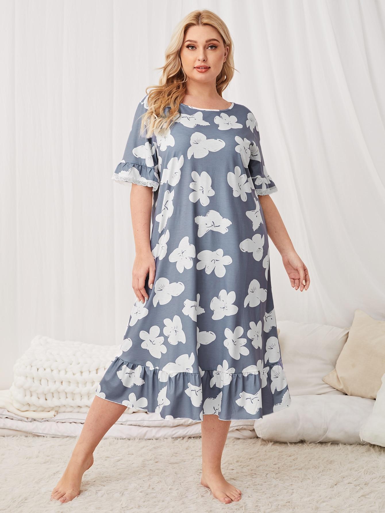 Plus Floral Print Ruffle Hem Nightdress