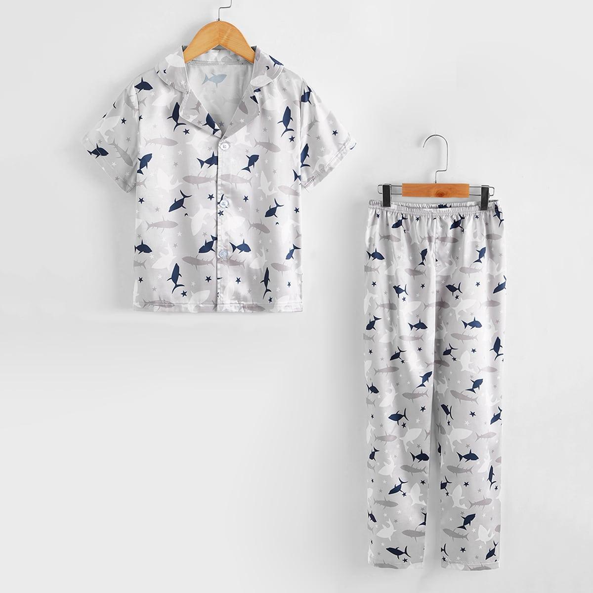 Пуговица Мультяшный принт милый Домашняя одежда для мальчиков