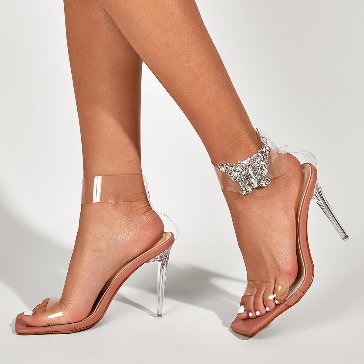 Прозрачные сандалии на шпильках с бабочкой