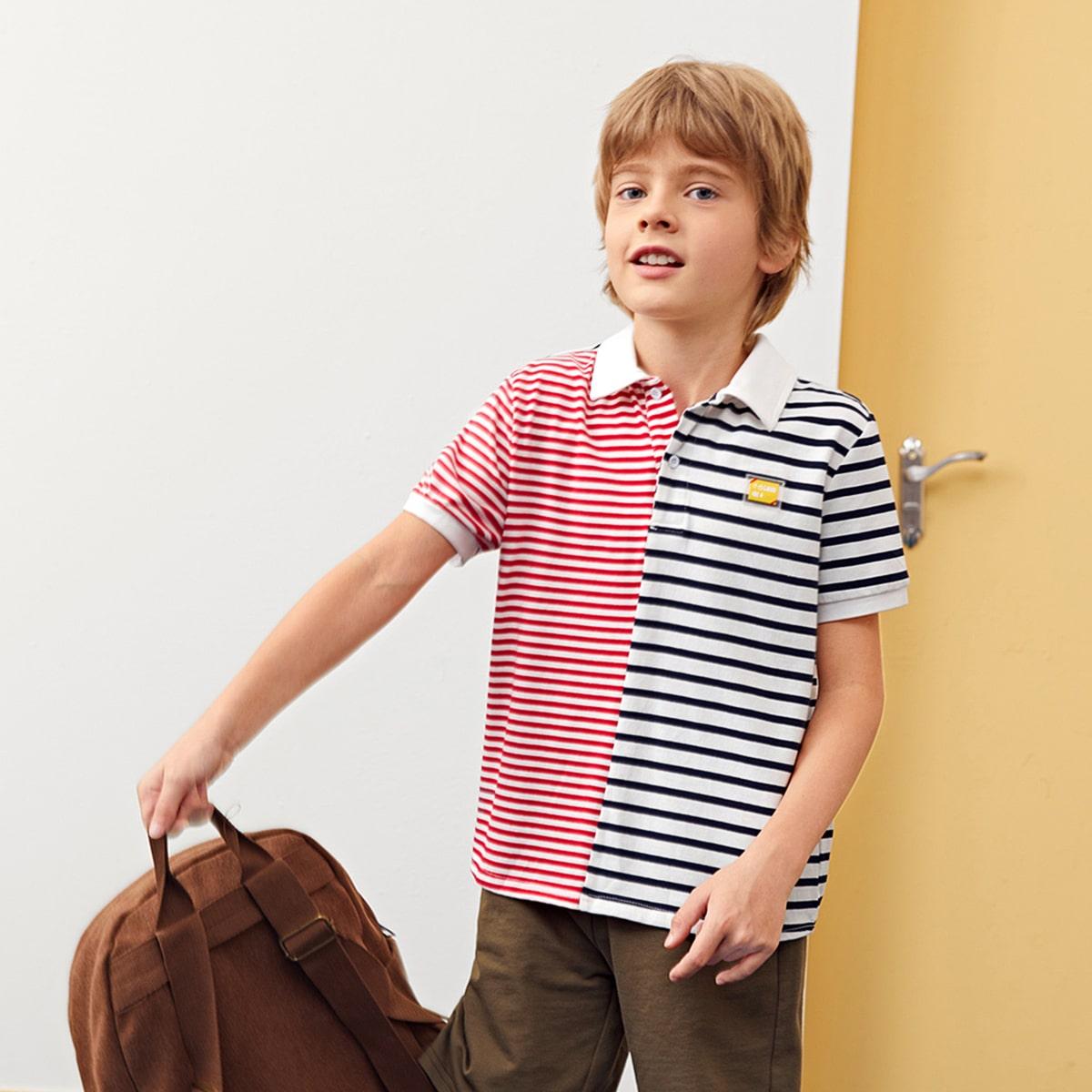 Аппликация буква повседневный рубашки поло для мальчиков