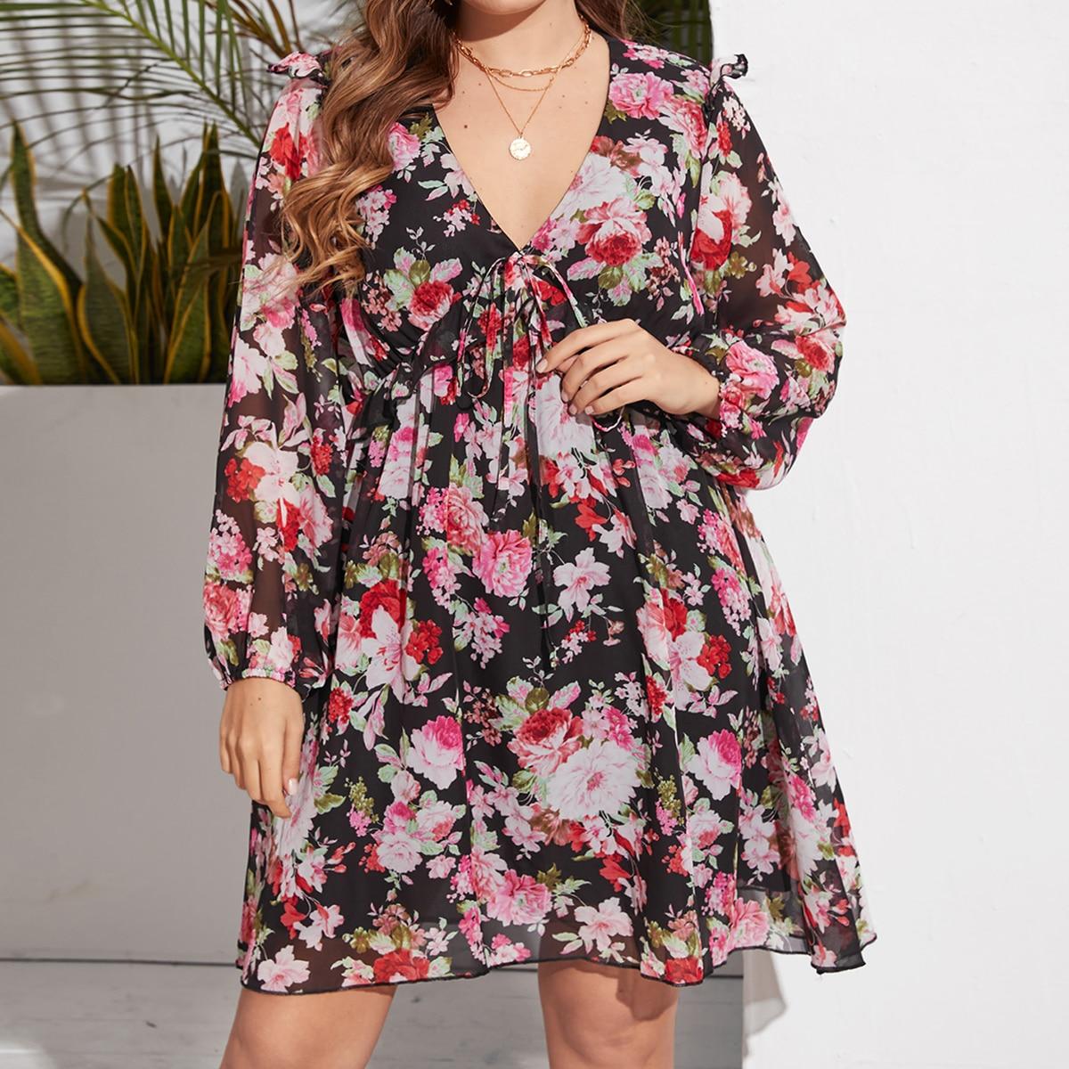 Платье размера плюс с узлом и цветочным принтом