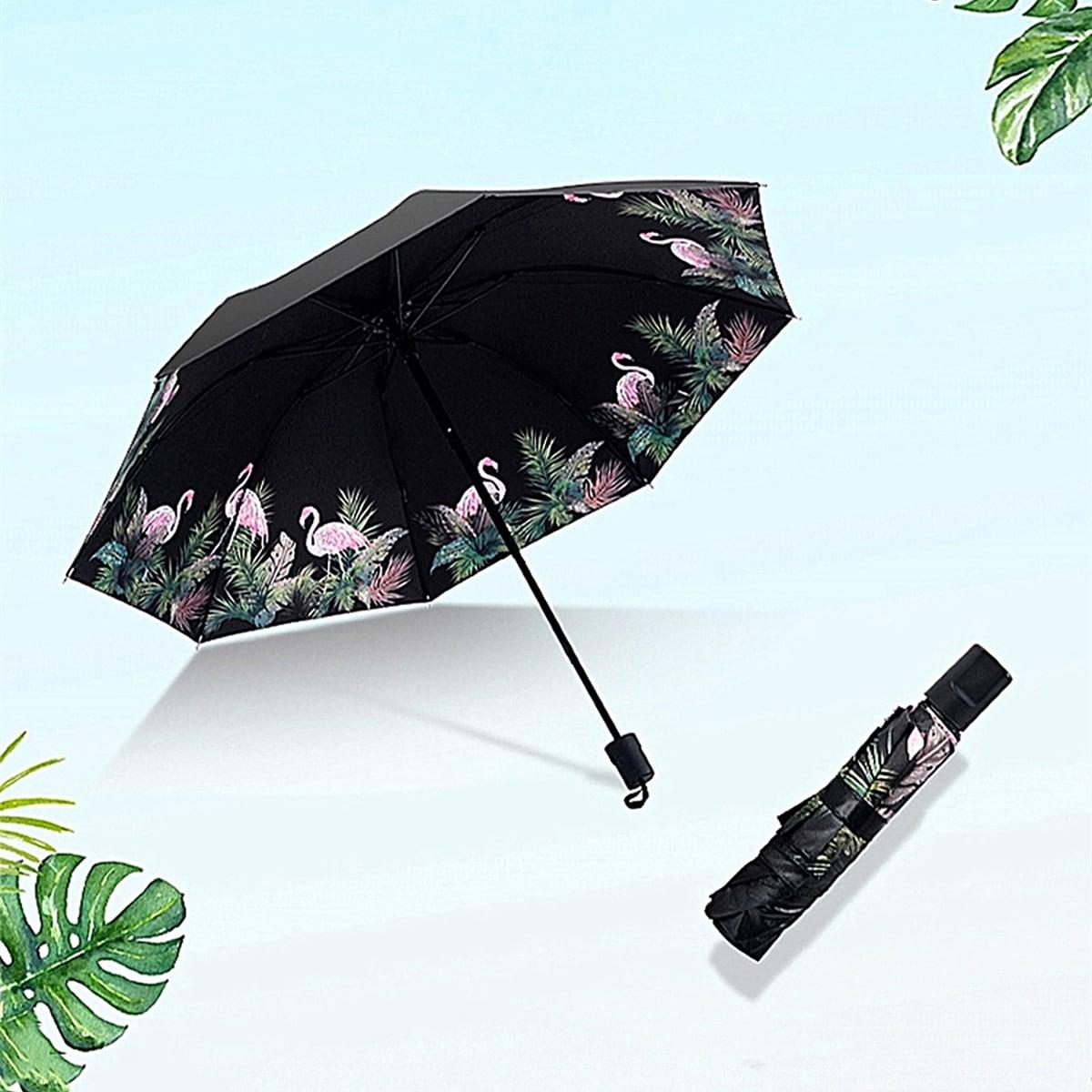 Солнцезащитный зонт с принтом фламинго