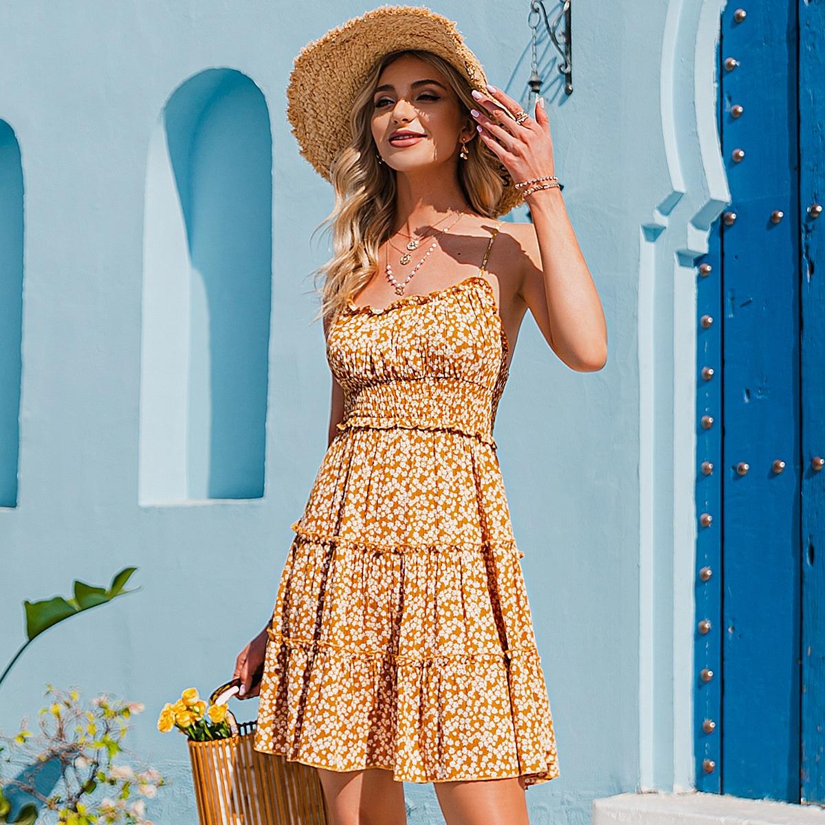 Открытая спина цветочный Бохо Платье