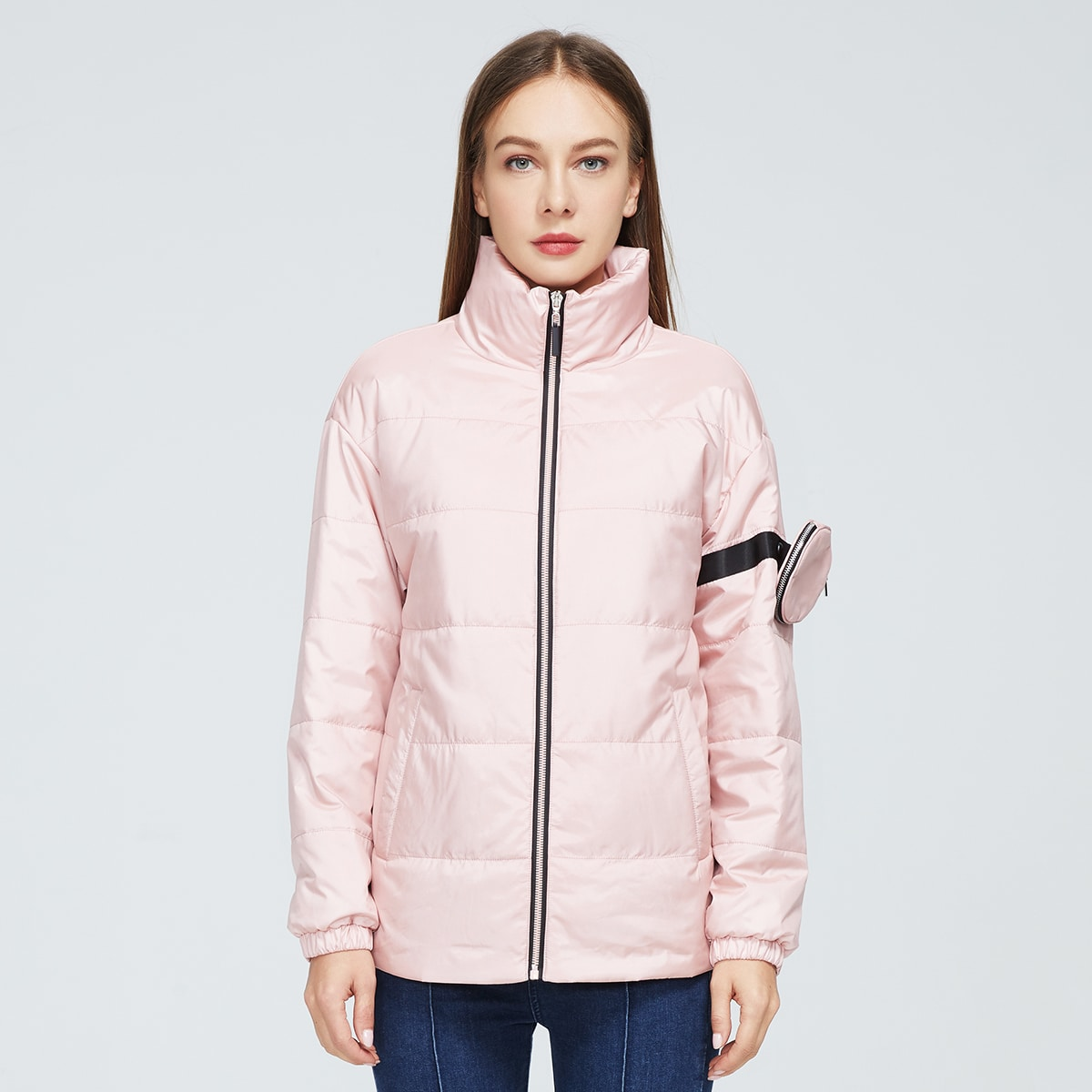 High Neck Zip Up Puffer Jacket With Bag