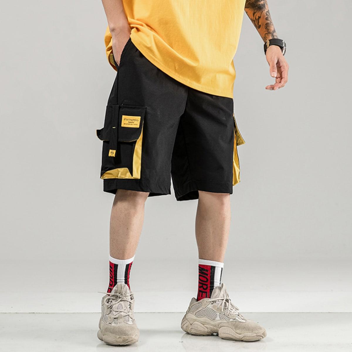 Мужские шорты-карго с текстовой заплатой
