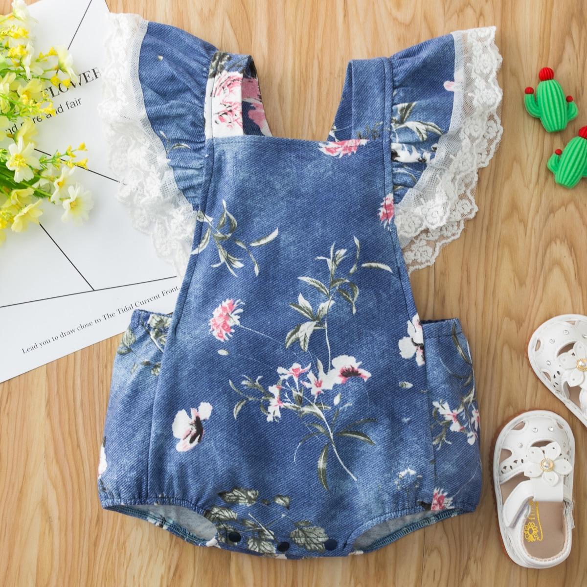 Джинсовое боди с сетчатой вышивкой для девочек от SHEIN