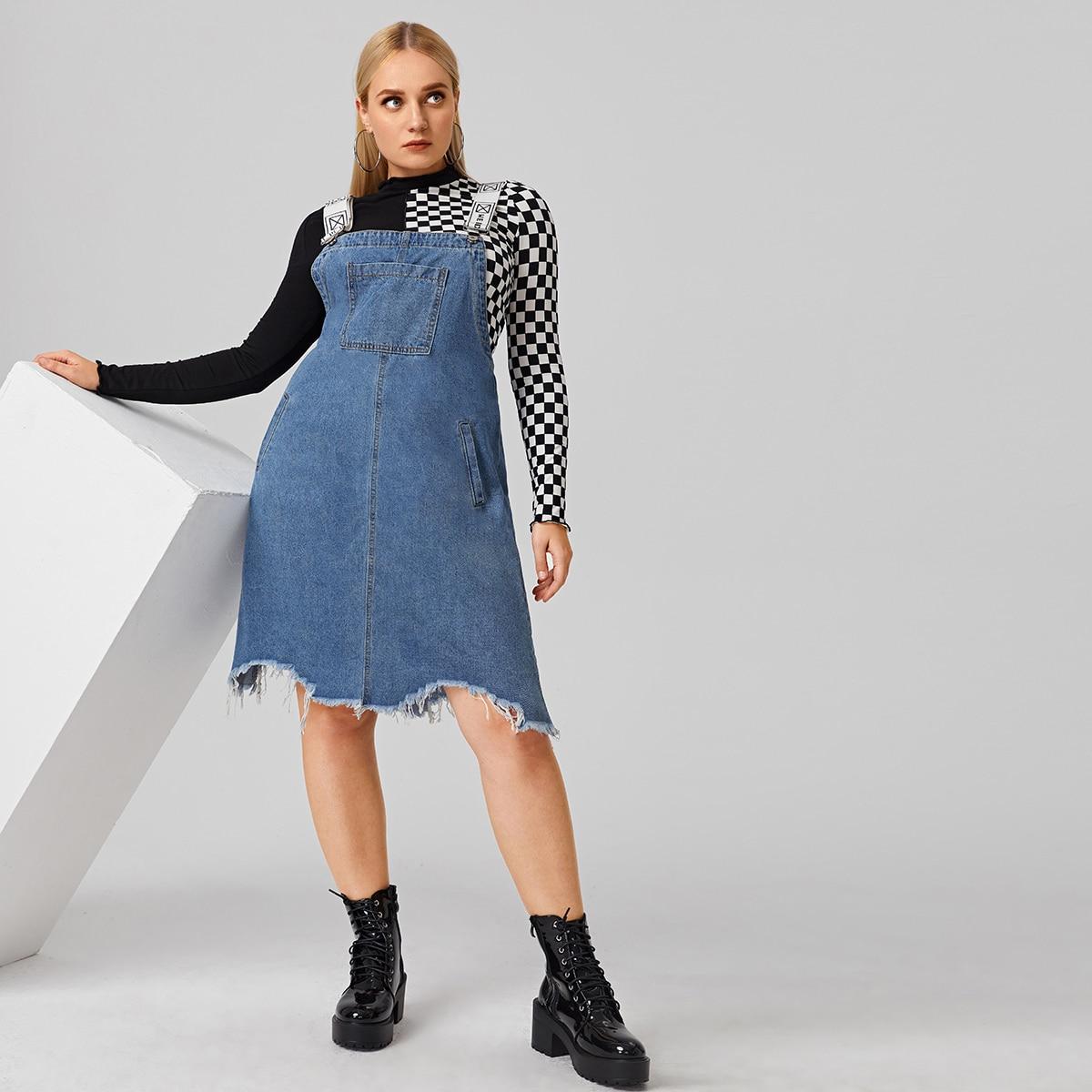 с карманами буква Повседневный Джинсовые платья размер плюс