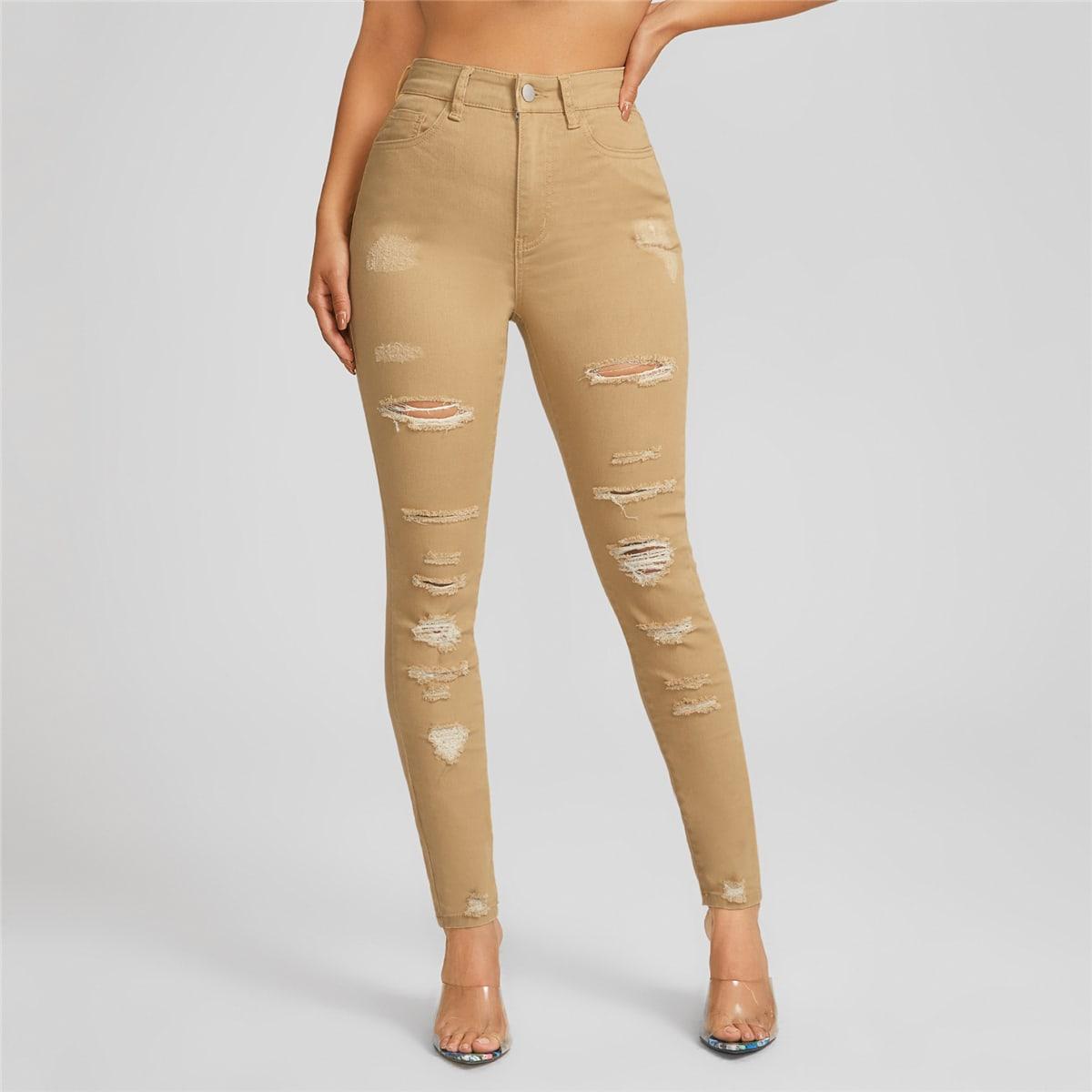 Рваные джинсы скинни с высокой талией