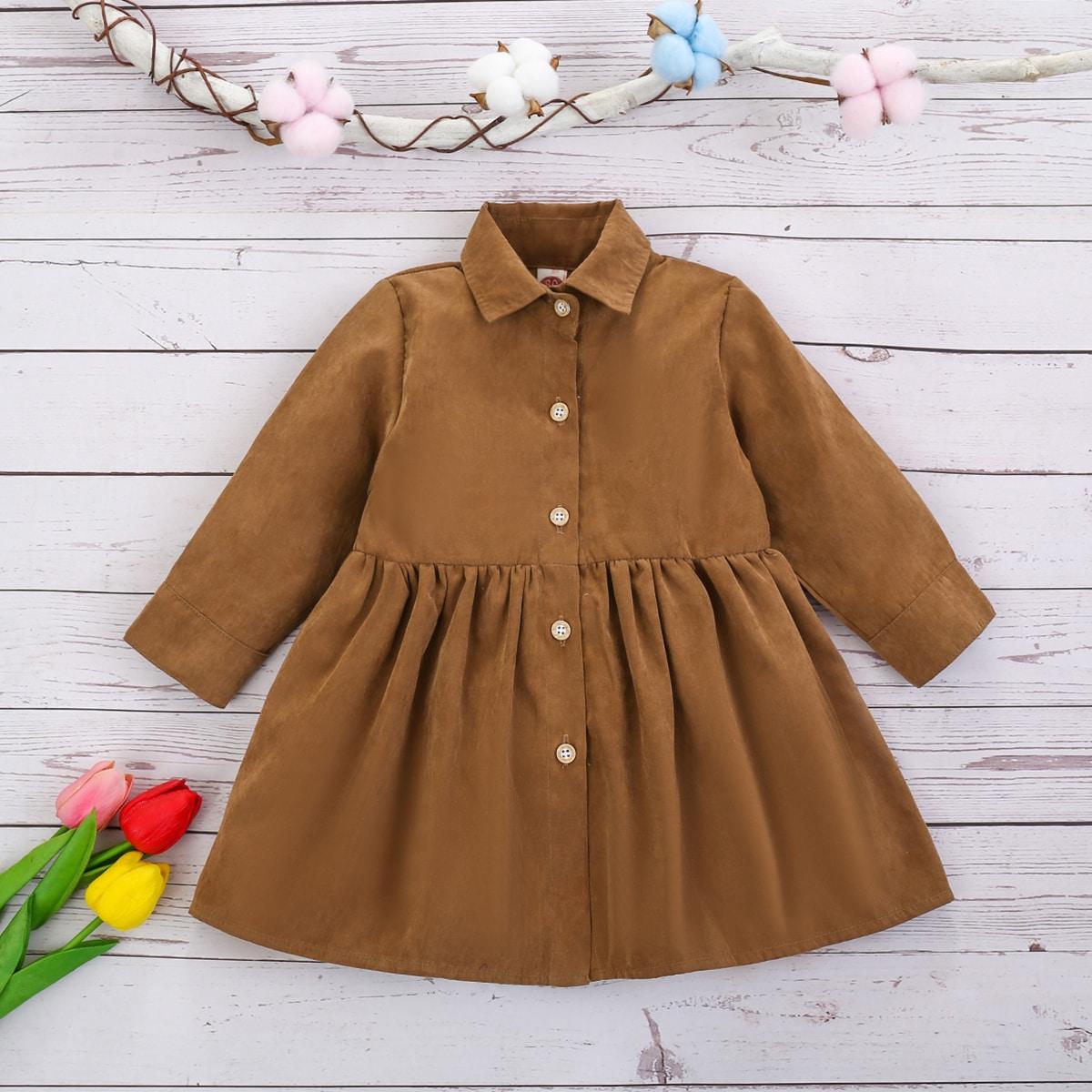 shein Casual Vlak Baby-jurk Voorpand met Knoopjes