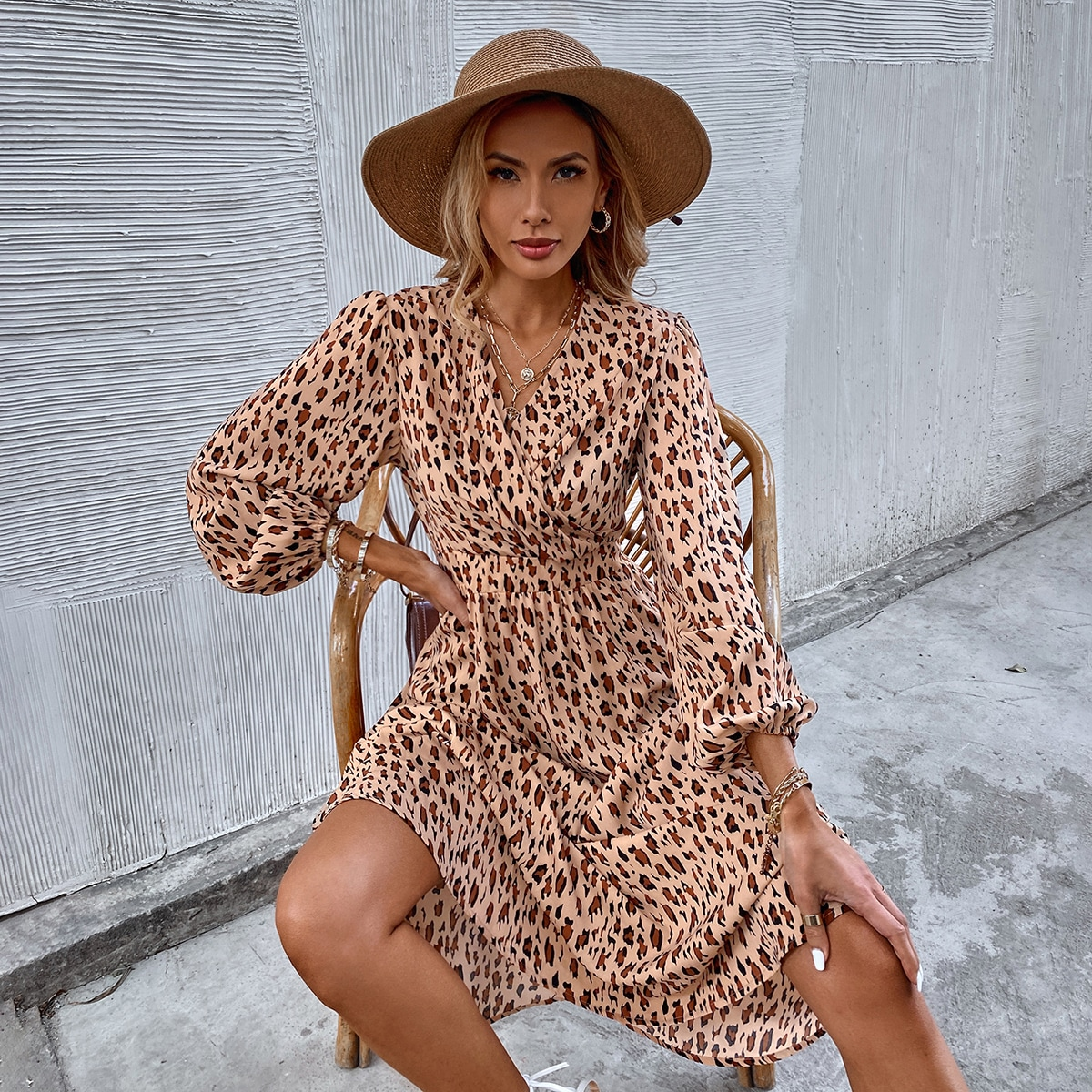 Leopard Print Bishop Sleeve Surplice Neck A-line Dress