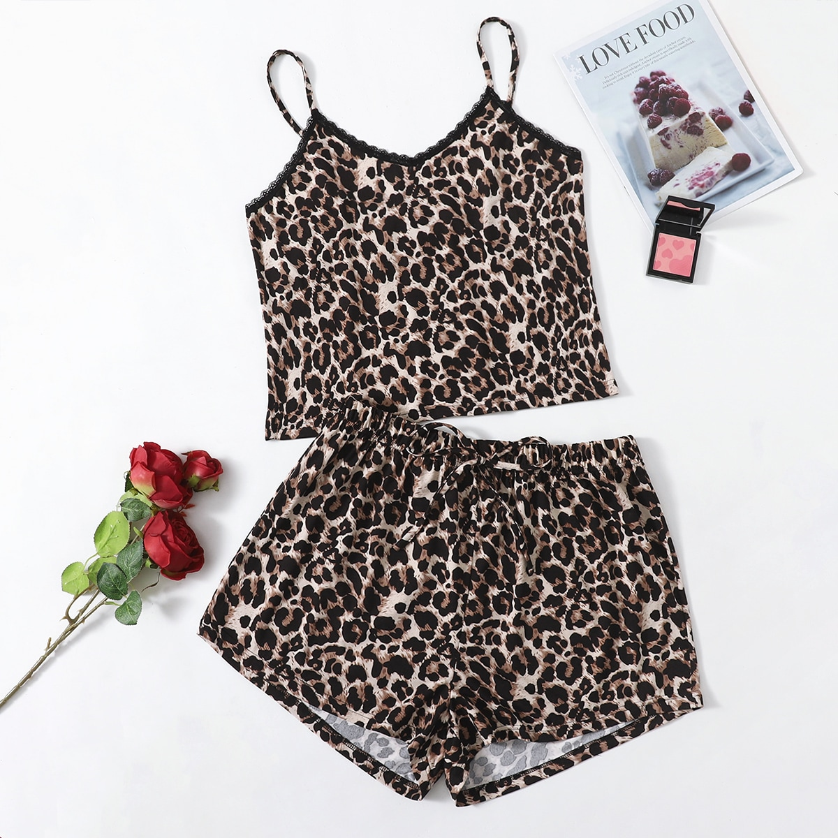 Plus Leopard Print Lace Trim Cami PJ Set, SHEIN  - buy with discount