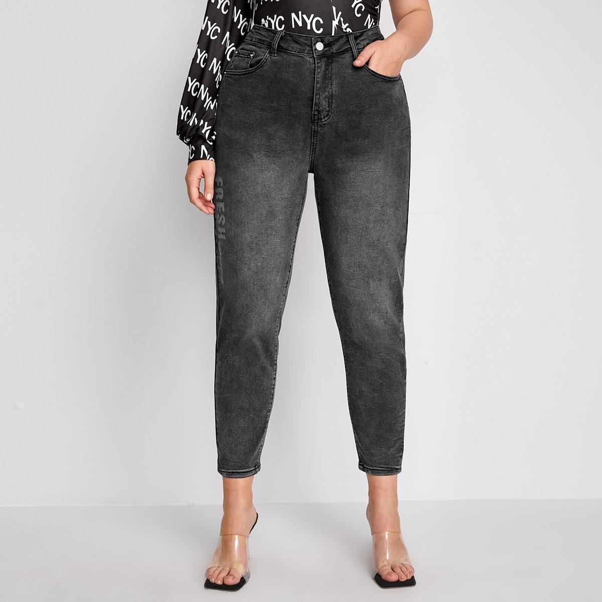 Короткие джинсы размера плюс с принтом бабочки и высокой талией