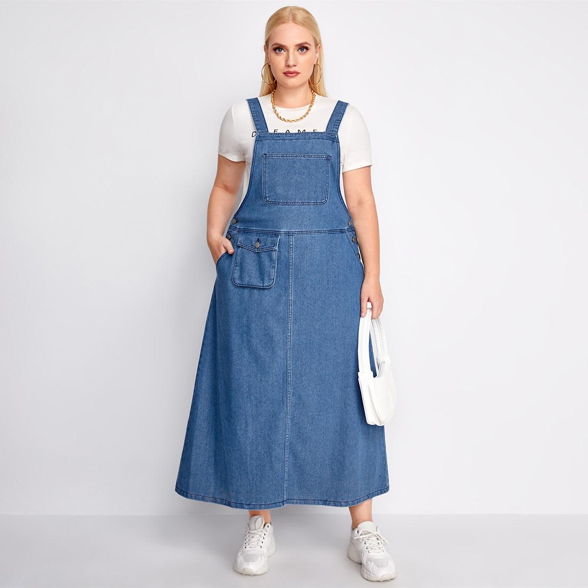 на пуговицах Одноцветный Джинсовые платья размер плюс