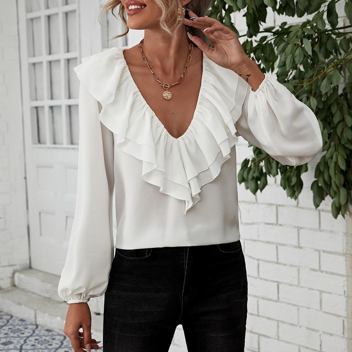 с оборками Одноцветный Элегантный Блузы по цене 890